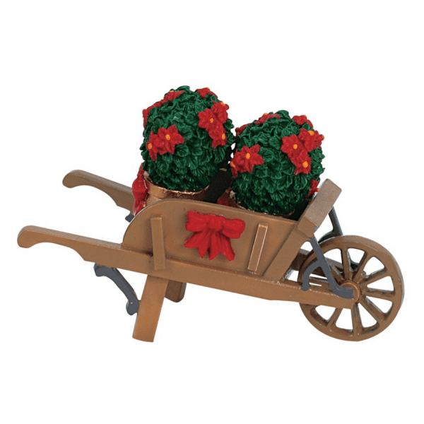 wheelbarrow with-poinsettias-64479-lemax