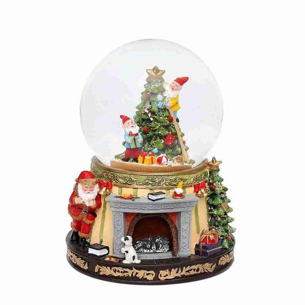 snowball fireplace carillon natale snowglobe 50 1363